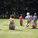 kids doing a sack race