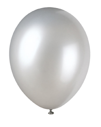 10 silver latex balloons