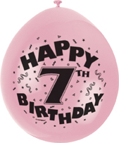 Childrens 7th Birthday Printed Balloons