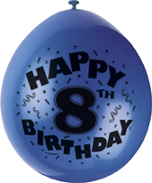 printed latex balloons for kids parties - 8th birthday