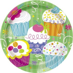 party plates with cupcakes pictured
