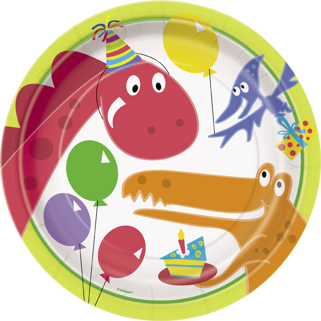 childrens party plates -dinosaur theme
