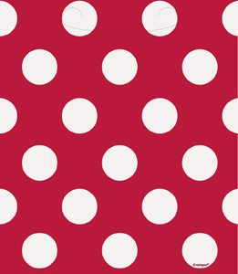 kids party bags red with dots