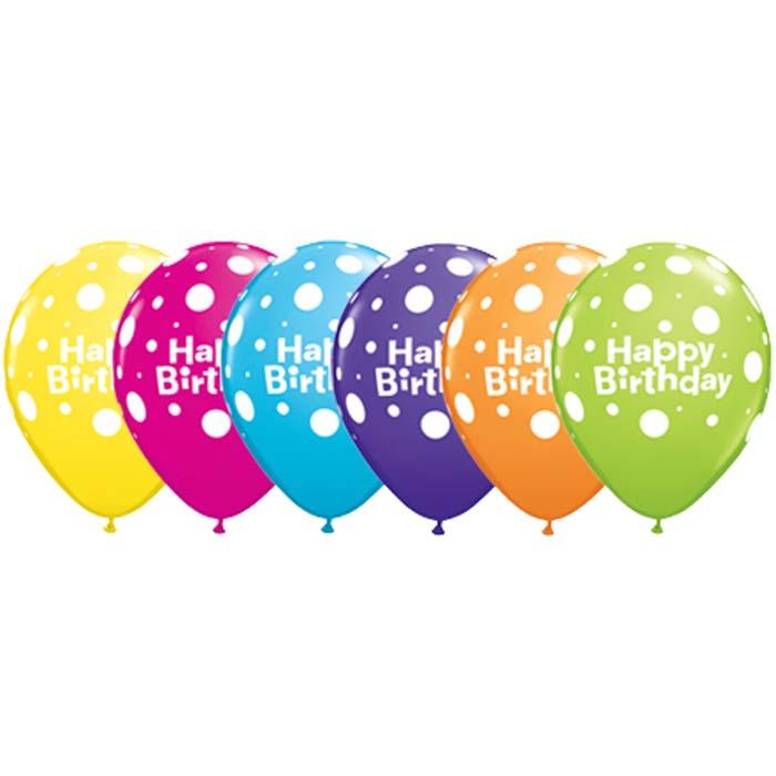 polka dots happy birthday balloons