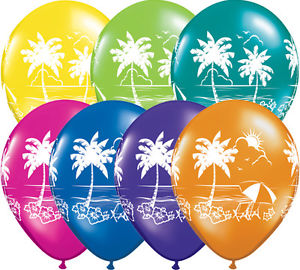 tropical vistas and hawaiian theme balloons