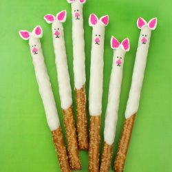 kids bunny pretzel sticks covered in white chocolate