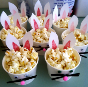 bunny cups of popcorn- easter kids party ideas