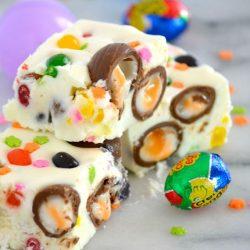 mini cadbury creme egg white chocolate brownies - easter kids party ideas