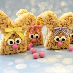 bunny shaped rice crispie cakes- easter kids party ideas